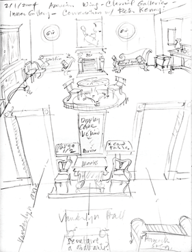 Pencil Sketch of the Neoclassical Galleries, The American Wing. Thomas Gordon Smith, 2004.