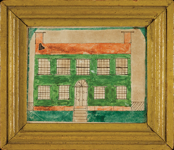 "Ruby Devol Finch (1804–1866) A Presentation Piece: Federal Style House, ca. 1838 Watercolor and ink on paper, 2-1/2 x 3-1/8 inches Inscribed in graphite on reverse: ""For Mary A. M. Wood, Westport Mass in the year 1838"" Courtesy, a Maryland Collector"
