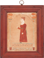"Ruby Devol Finch (1804–1866) Portrait of Ann Potter (1809–1844), ca. 1830 Signed: ""Ann Potter's Profile drawn by Ruby Devol"" Watercolor, gouache and ink on paper, 9 x 11 inches (framed) Courtesy, Arthur Kern;  Image courtesy, Walters-Benisek Art and Antiques The inscription reads: ""Can love for me inspire your tender breast/Dare I to hope and with that hope be blest."" This portrait incorporates a design element found in three other works (Checklist, 1, 6, and 10): stylized columns composed of potted attenuated floral vines between which an arch or banner area is formed. Ann Potter was born in Westport May 21, 1809 (daughter of Joshua and Elizabeth Potter); she married James Macomber on November 30, 1828; she died, listed as a housekeeper, May 20, 1844. See Vital Records of Dartmouth, Massachusetts, To The Year 1850 (Boston: New England Historic Genealogical Society, 1929)."