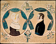 Ruby Devol Finch (1804–1866) Portrait of Elijah (1786–1861) and Hannah (1788–1849) Robinson, ca. 1830–1835 Watercolor, gouache, pencil and ink on paper, 7 x 9 inches Courtesy, Abby Aldrich Rockefeller Folk Art Museum, The Colonial Williamsburg Foundation, Williamsburg, Va. (66.300.1)