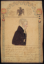 Ruby Devol Finch (1804–1866) Memorial Portrait of Tillinghast Tripp (1771–1836), ca. 1836 Watercolor, gouache and ink on paper, 8 x 5-1/4 inches Courtesy,  New Bedford Whaling Museum Gift of George L. Considine (1984.35.4)