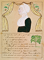 Ruby Devol Finch (1804–1866) Portrait of Susannah Tripp (1777–1866), ca. 1836 Watercolor, gouache, pencil and ink on paper, 8-1/4 x 6-1/4 inches Courtesy, Abby Aldrich Rockefeller Folk Art Museum, The Colonial Williamsburg Foundation, Williamsburg, Va. (66.300.2)