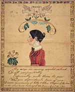 "Ruby Devol Finch (1804–1866) Memorial Portrait of Sally Allen (1805–1893), dated 1843 Watercolor, gouache and ink on paper, 7-1/4 x 5-1/4 inches Courtesy,  New Bedford Whaling Museum. Gift of George L. Considine. (1984.35.3) The inscription reads: ""My arm in mercy would extend/To all impartially/Especially unto those the poor /Who are dependants here of me/Drawn in memory of Sally Allen Keeper of the board /in the almshouse 1843 aged 38 Born April 12 1805.""  An incorrect assumption regarding the words ""in memory of"" was made in Walters, ""Out of Anonymity: Ruby Devol Finch (1804–1866),"" Maine Antique Digest (June 1978, section C). It is now known that Sarah (aka Sally) Allen actually died fifty years later (August 20, 1893), well after Ruby Devol's 1843 portrait was painted; ""in memory of"" should be taken to mean ""in honor or recognition of."" Sally Allen married Thomas Allen (1807–1880) on October 5, 1826, in Dartmouth, Mass., where they both were born. See Vital Records of Dartmouth, Massachusetts, To The Year 1850 (Boston: New England Historic Genealogical Society, 1929). Husband and wife, both Quakers, are buried in the Padanaram Cemetery (known earlier as the Sherman Burial Ground) in Dartmouth, although they both were employed for a time (approximately 1841–1859) by the Town of Westport to manage the almshouse on Drift Road, now a historic property owned by the Town of Westport."
