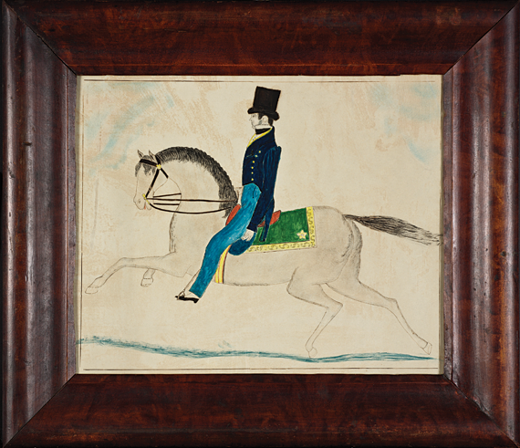 Ruby Devol Finch (1804–1866) An Equestrian Figure, ca. 1830–1835 Watercolor, ink and graphite on paper, 12-1/4 x 15-1/4 inches Courtesy, a Virginia Collector