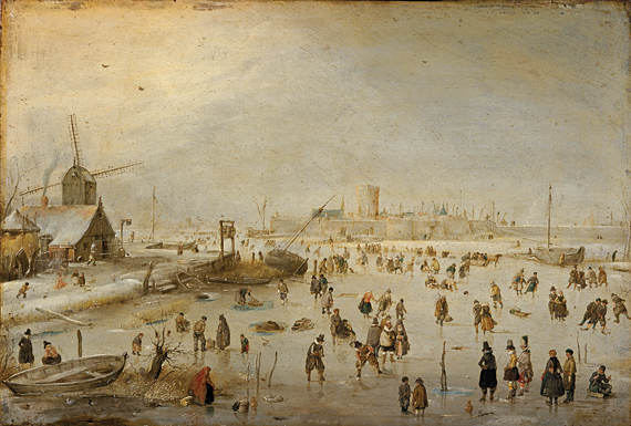 Fig. 1: Hendrick Avercamp (1585–1634) Winter Landscape, ca. 1610–1620 Oil on copper, 11-1/4 x 16-3/4 inches National Galleries of Scotland, Edinburgh (NG 647)  Hendrick Avercamp's winter scene conveys a message about democratic social values: various classes—rich and poor, old and young, male and female—are bound together through leisure. Nevertheless, kolf was connected to status in seventeenth-century Dutch society, here evidenced by the players' colorful, elegant clothing.