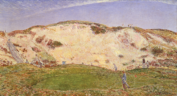 "Fig. 7: Childe Hassam, American (1859–1935) Dune Hazard, No. 2., 1922  Oil on canvas, 22 x 44 inches Courtesy American Academy of Arts and Letters, New York  Hassam's painting likely depicts a course he played often, the Maidstone Club in East Hampton, Long Island, founded in 1891, and professionally designed by Scottish immigrant Willie Tucker. A member, Hassam called Maidstone ""a country club discovered by artists."""