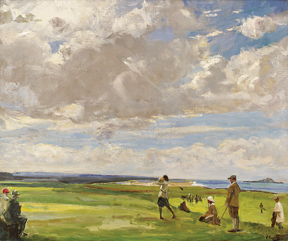 Fig. 4: Sir John Lavery (1856–1941)  Golfing at North Berwick, ca. 1920  Oil on canvas, 32-1/4 x 35-1/2 inches  The collection of John and Mary Ellen Imlay Jr  Lavery and his wife visited North Berwick regularly between 1919 and 1924. There the artist painted a series of landscapes documenting North Berwick's spectacular links.
