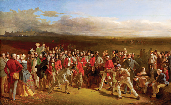 Fig. 3: Charles Lees (1800–1880) The Golfers, 1847 51-1/2 x 84-1/4 inches National Galleries of Scotland, Edinburgh Scottish National Portrait Gallery, purchased with the assistance of the Heritage Lottery Fund, The Art Fund, and The Royal and Ancient Golf Club of St. Andrews, 2002 (PG 3299)  Perhaps the greatest of all golfing pictures, The Golfers contains portraits of more than fifty identifiable golfers. They are clustered around a foursome match between Sir David Baird and Sir Ralph Anstruther against Major Hugh Lyon Playfair and John Campbell of Glensaddell.