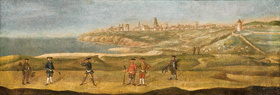 Fig. 2: Unknown artist View of St Andrews from the Old Course, ca. 1740 Oil on canvas, 14 x 39-9/16 inches By kind permission of The Royal and Ancient Golf Club of St Andrews  This view of St. Andrews golf course is the earliest known representation of golf being played in Scotland. Two rustic shepherds watch golfers and caddies, while a nearby flock of sheep is seemingly unbothered by the game afoot.