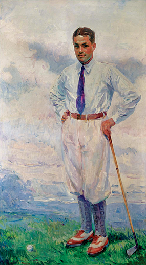 "Fig. 5: Wayman Adams (1883–1959) Bobby Jones, 1926 Oil on canvas, 80 x 47 inches The Atlanta Athletic Club  In 1926 a group of prominent Atlanta businessmen commissioned Wayman Adams to commemorate Jones after he won ""The Double""—the U.S. Open and the British Open. The portrait was paid for by subscriptions to the Atlanta Georgian and the Sunday American and presented to Jones."