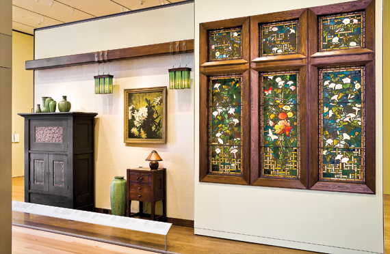 Fig. 1: Lorraine and Alan Bressler Gallery (The Arts and Crafts Movement, 1870–1930), Museum of Fine Arts, Boston, installation image featuring the Byrdcliffe cabinet, Roycroft lanterns, and Stickley work table