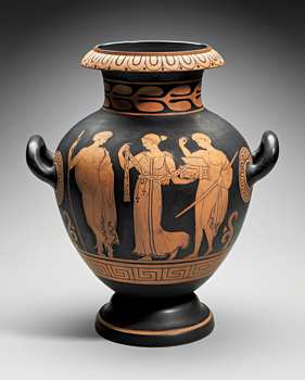 Fig. 3: Vase, decorated by John Gardner Low for Chelsea Keramic Art Works, Chelsea, Massachusetts, 1877. Earthenware (redware). Gift of James Robertson and Sons (77.248).