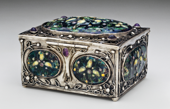 Fig. 6: Box, Elizabeth Ethel Copeland, Boston, Massachusetts, 1912. Silver, amethyst, enamel. Gift of Mrs. Horatio Appleton Lamb in memory of Mr. and Mrs. Winthrop Sargent (19.5).