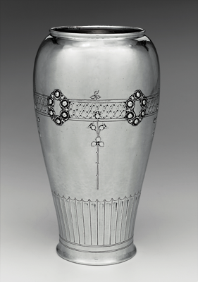 Fig. 7: Vase, designed by Arthur Stone; made by Herbert A. Taylor, Gardner, Massachusetts,1914. Silver. Seth K. Sweetser Fund (1978.234)