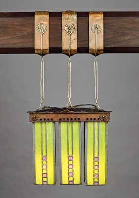 Fig. 8: Hanging lantern (one of a pair), designed by Dard Hunter; made by: Karl Kipp for Roycroft, East Aurora, New York, about 1903–08. Copper, nickel silver, stained glass, leather. Harriet Otis Cruft Fund (1980.279).