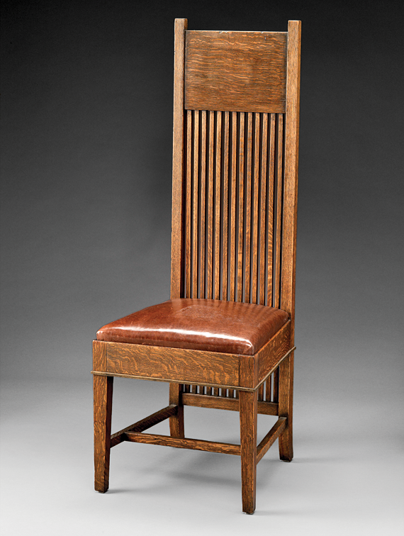 Fig. 11: Tall back side chair, designed by Frank Lloyd Wright; manufactured by John W. Ayers & Co., Chicago, Illinois, 1900. Oak, leather. Gift of American Decorative Art 1900 Foundation in honor of David A. Hanks (2006.1439).