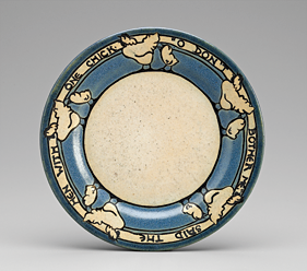 Fig. 12: Plate, decorated by Sara Galner for the Paul Revere Pottery of the Saturday Evening Girls club, Boston, Massachusetts, 1912. Earthenware with glaze. Gift of Dr. David L. Bloom and family in honor of his mother, Sara Galner Bloom (2007.377).