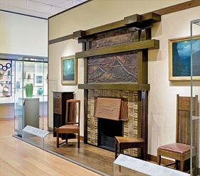 Fig. 13: Lorraine and Alan Bressler Gallery (The Arts and Crafts Movement, 1870–1930), Museum of Fine Arts, Boston, installation image featuring Greene & Greene's fireplace surround for the James A. Culbertson House.