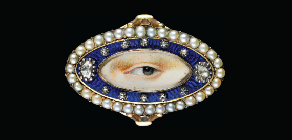 Fig. 1: Blue enamel, diamond, and pearl ring, ca. 1790. 3/4 x 1-1/4 x 7/8 inches