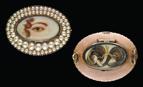 LEFT TO RIGHT Fig. 10: Rose gold oval brooch surrounded by seed pearls with Prince of Wales's Feathers, undated. 1 x 1-1/4 x 1/4 inches.  Fig. 11: Reverse of brooch shown in fig. 10.