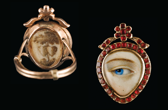 Fig. 13: Reverse of gold ring shown in fig. 12.      Fig. 12: Heart-shaped gold ring with Hessonite garnet surround; sepia and embroidered hairwork image on reverse, ca. 1790. 15⁄16 x 5/8 x 7/8 inches.