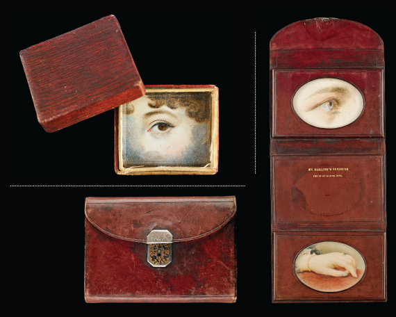 "UPPER LEFT: Fig. 14: So-called ""memory box"" made of embossed and painted paper containing eye miniature, ca. 1830. 1-1/4 x 1-1/4 x 3/8 inches.  BOTTOM AND RIGHT: Fig. 15: Dark-red leather wallet with gold decorated engine turned clasp containing eye and hand miniatures, stamped with the inscription, ""MY DARLING'S SUNSHINE/THE 26 OF MARCH 1882,"" 1882. Case (open): 3-7/8 x 9-5/8 x 1/4 inches."