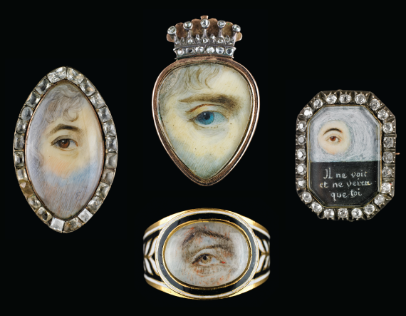 Fig. 2: George Engleheart (British, 1750-1829), Eye set in yellow gold navette-shaped ring surrounded by paste stones, ca. 1790. 1-1/4 x 3/8 x 1 inches.  Fig. 3: Thomas Richmond the Elder (British, 1771-1837), attributed. Gold ring with heart-shaped miniature surmounted by gold and diamond crown, ca. 1835. 1-3⁄16 x 3/4 x 1-3⁄16 inches.  Fig. 5: Octagonal silver and gold brooch surrounded by diamonds, ca. 1800. 1-3⁄16 x 15⁄16 x 1/4 inches.  Fig. 4: Yellow gold ring with black and white enamel decoration, 1808. 1/2 x 5/8 x 13⁄16 inches.