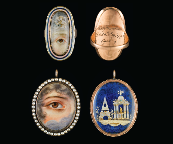 Fig. 6: Gold oval ring with white, blue, and pink enamel, 1795. 1-3⁄16 x 11⁄16 x 13⁄16 inches.  Fig. 7:  Reverse side of ring shown in fig. 6.   Fig. 8: Gold oval pendant surrounded by seed pearls. Mourning motifs in mother-of-pearl, ivory and gold against blue glass background, ca. 1830. 1-3/8 (with hanger) x 1-3/8 x 3/4 inches.  Fig. 9: Reverse side of pendant shown in fig. 8.