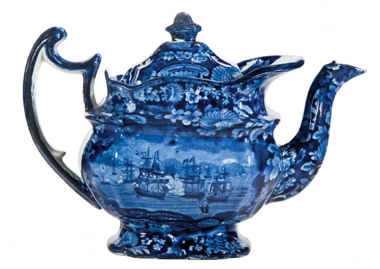Fig. 1: Teapot, Enoch Wood & Sons, Staffordshire, ca. 1820. Earthenware. H. 7-1/4, L.10-1/2 in. Blue printed design titled MAC DONNAUGH'S VICTORY [sic] taken from Macdonough's Victory on Lake Champlain and defeat of the British Army at Plattsburg by General Macomb on 11th September 1814, by H. Renagle (1788-1834), engraved by B. Tanner (1775-1848), published 1816.  Private collection. Courtesy, Transferware Collectors Club.
