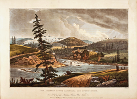 Fig. 2a: THE JUNCTION OF THE SACANDAGA AND HUDSON RIVERS, W. G. Wall (1792–after 1864), colorist, J. Hill (1770–1850), engraver. Colored aquatint in the Hudson River Port Folio (New York: H. I. Megarey & W. B. Gilley, Charleston, S.C.: John Mill, 1827). Courtesy, Winterthur Library (RBR NE940 H88 PPF).