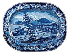 Fig 2b: Large platter, Andrew Stevenson, Staffordshire, ca. 1825-1830. Earthenware. L. 14-1/4, W. 11 in. Blue printed design derived from the aquatint seen in fig. 2a. On reverse: blue printed mark of an eagle with a banner and the aquatint title with a circular impressed maker's mark and name. Private collection. Courtesy, Transferware Collectors Club.
