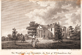Fig 3a: The Woodlands Near Philadelphia the seat of Wm. Hamilton Esqr, inscribed Wm. Strickland delt. Geo. Murray Sculpt., William Strickland (1788–1854) and George Murray (fl. 1800–1820). Engraving from The Port Folio New Series by Oliver Oldschool, vol. II, (Philadelphia: Bradford & Inskeep, New York: Inskeep & Bradford, 1809).