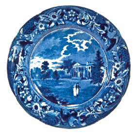 "Fig, 3b: Plate, Joseph Stubbs, Staffordshire, ca. 1825. Earthenware. Diam. 9 in. Blue printed pattern based on engraving in 3a. On reverse: engraving title and impressed mark STUBBS.  This view is one of twelve scenes in the ""spread-eagle border"" series of designs. Private collection. Courtesy, Transferware Collectors Club."