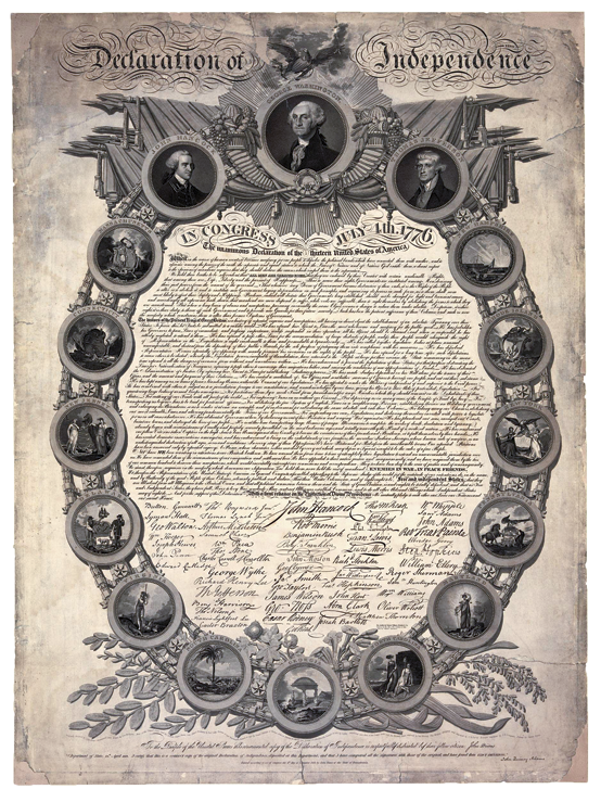 Fig. 4a: Arms of the United States and the thirteen states, George Murray (fl. 1800–1820), engraver, John Binns (1772–1860) designer, in facsimile of the Declaration of Independence, 1819. Print on wove paper, 36 x 26-1/2 inches. Includes ornamental oval frame with medallions of seals of the thirteen original colonies and medallion portraits of John Hancock, George Washington, and Thomas Jefferson. Courtesy, Library of Congress.