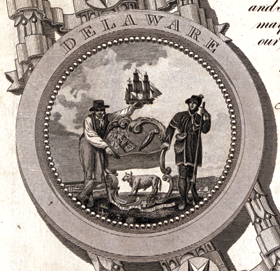 Fig 4b: Detail from the facsimile of the Declaration of Independence in fig. 4a, showing the Arms of the State Delaware.