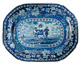 Fig. 4c: Platter, Thomas Mayer, Staffordshire, ca. 1826–1830. Earthenware. H.16-1/2, W. 13 in. Blue printed design depicting the arms of the state of Delaware based on facsimile shown in figs. 4a–b. On reverse: blue printed eagle mark based on the Great Seal of the United States, seen at the top of the facsimile, with circular impressed mark T. MAYER STOKE STAFFORDSHIRE encircling the word WARRANTED above the eagle. Courtesy, Winterthur Museum, Bequest of Henry Francis du Pont (1958.1847).