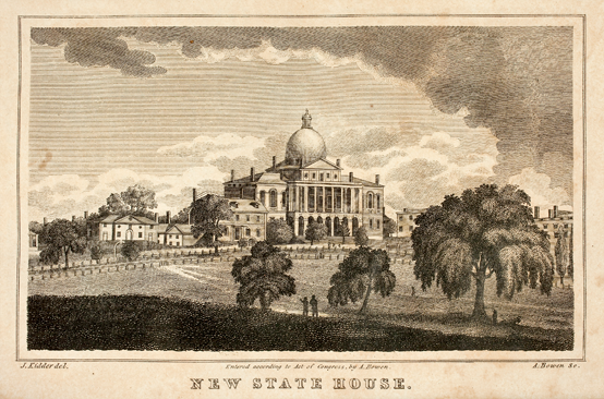 "Fig. 5a: New State House, engraved by H. Bowen (1825), in Caleb H. Snow, History of Boston (Boston: A. Bowen,1825). Courtesy, Historic New England. It is possible that this image was based on Nathaniel Dearborn's 1814 concept for a history titled ""Picture of Boston."" Dearborn is listed as delineator on Shaw's 1817 Topographical and Historical Description of Boston, on which Bowen based his engraving."