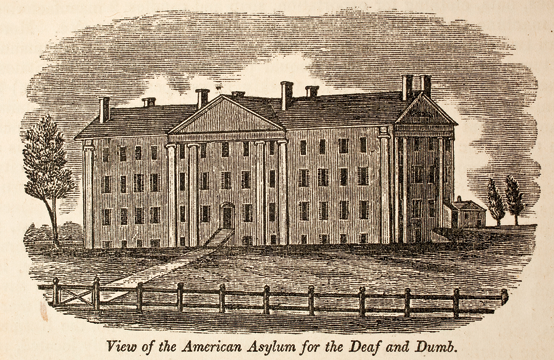 Fig. 5b: View of the American Asylum for the Deaf and Dumb, by J. Barber (1825), engraved by A. Willard (ca. 1820), in John W. Barber's Connecticut Historical Collections (New Haven: Durrie & Peck, 1836). Courtesy, Historic New England.