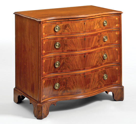 Fig. 3: Dressing chest of drawers, attributed to William Jones, d. 1792, Charleston, S.C., 1785–1792. Mahogany with mahogany veneer, light wood inlay and cedar. H. 36-1/4, W. 41, D. 23-1/4 in. Gift of Commander and Mrs. Duncan I. Selfridge (1957.32.02).