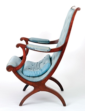 "Fig. 2: Campeachy or ""Spanish"" chair, attributed to William Worthington (1775–1839), Washington, D.C., 1810–1820. Mahogany, yellow pine, and tulip poplar, H. 40-1/2, W. 24-1/2, D. 30-1/2 in. Museum purchase (1964.143)."