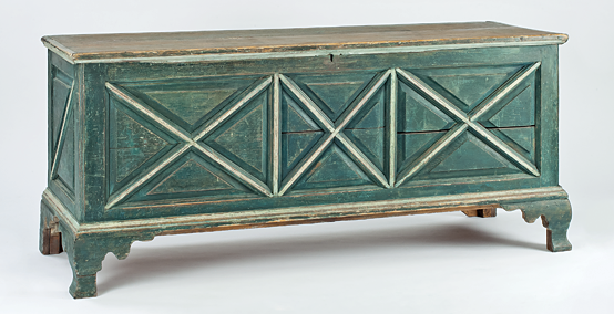 Fig. 5: Chest, Northampton County, Eastern Shore, Va., 1770–1800. Yellow pine, paint and iron, H. 23-1/4, W. 53-1/4, D. 19-1/4 in. Museum purchase with funds provided by the Henry Francis du Pont Collectors Circle (2011.16).