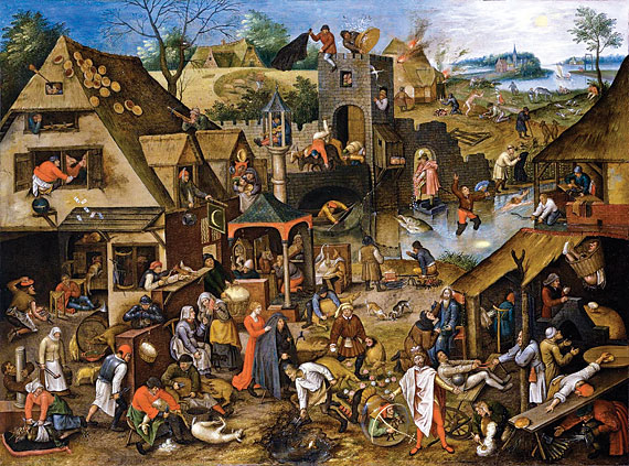 Pieter Brueghel II (Brussels 1564/5-1637/8 Antwerp), The Flemish Proverbs, ca. 1610–1618. Oil on copper, 19-1/4 x 26-1/8 inches. Courtesy, Johnny Van Haeften, Ltd.