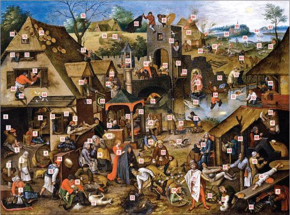 Pieter Brueghel II (Brussels 1564/5-1637/8 Antwerp), The Flemish Proverbs, ca. 1610–1618. Oil on copper, 19-1/4 x 26-1/8 inches. Courtesy, Johnny Van Haeften, Ltd.