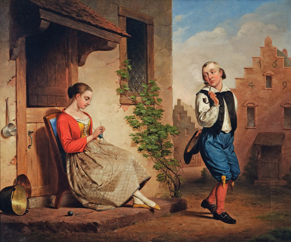 "William Edmonds (1806–1863), Courtship in New Amsterdam, 1850. Oil on canvas, 25 x 30 inches. Signed ""EW Edmonds/1850"" and retains the mid-nineteenth century gilt, molded, and carved frame."