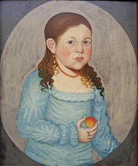 Girl in Blue with Apricot, ca. 1820, by an artist unknown, was on Suzanne and Michael Payne's radar since they first saw it in an exhibition in the 1970s; she was what inspired their interest in collecting folk art. The couple was delighted to acquire the portrait years later