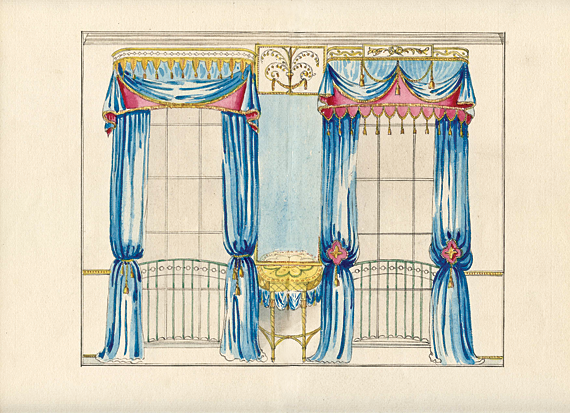 Plate 132a. Drawing room view of pier table between two windows.  Based on plate 51 in Thomas Sheraton's The Cabinetmaker and Upholsterer's Drawing Book (London, 1793).