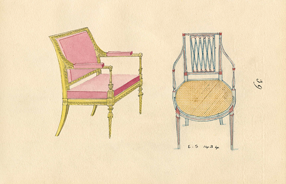 Plate 39. Carved, upholstered armchair with square back; painted armchair with cane seat and diamond back.