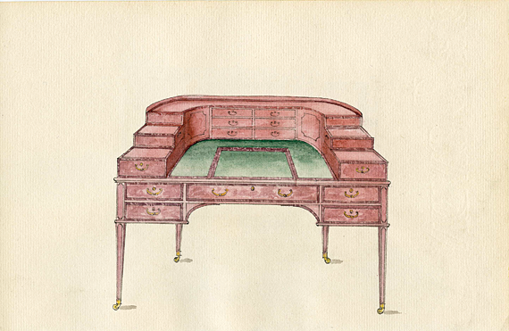 Plate 68a. Leather top writing table with veneer and inlay.