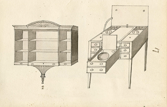 Plate 87. Hanging bookshelf with drawers; dressing table with multiple compartments and drawer for wash bowl.