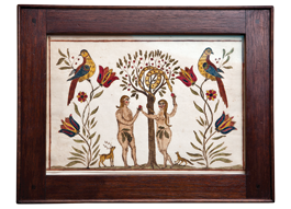 An Adam and Eve fraktur drawing, watercolor on laid paper 7 x 9-3/4 inches. Schwenkfelder Community, Montgomery County, Pennsylvania.